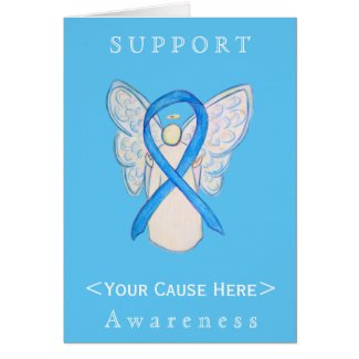 Light Blue Awareness Ribbon Angel Customized Card