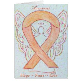 Peach Awareness Ribbon Angel Greeting Card