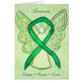 Green Awareness Ribbon Angel Greeting Card