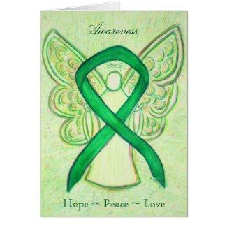 Green Awareness Ribbon Angel Greeting Card