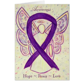 Purple Awareness Ribbon Angel Greeting Card