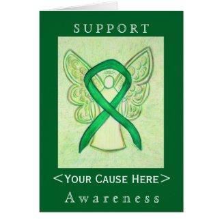 Green Awareness Ribbon Angel Customized Card