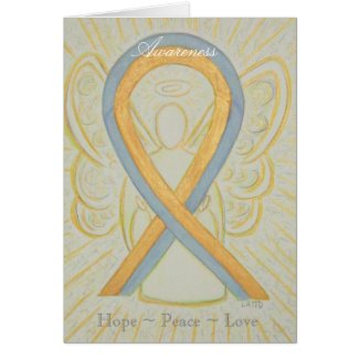Gray and Gold Awareness Ribbon Greeting Card