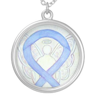 Periwinkle Awareness Ribbon Angel Jewelry Necklace