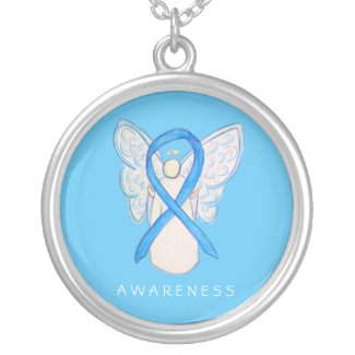 Light Blue Awareness Ribbon Angel Jewelry Necklace