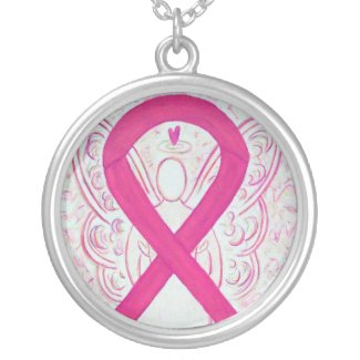 Hot Pink Angel Awareness Ribbon Necklace