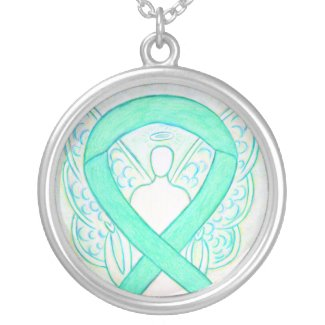 Jade Green Awareness Ribbon Jewelry Necklace