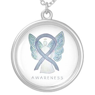 Gray Awareness Ribbon Angel Jewelry Necklace