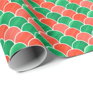 Red and Green Gouache Scale Pattern Wrapping Paper