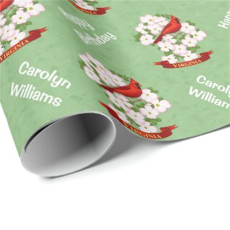 Virginia State Cardinal Bird and Dogwood Flower Wrapping Paper