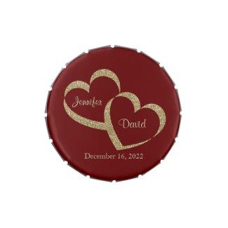Red & Gold Hearts Custom Wedding Candy Tin