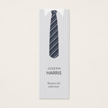 Cool white pinstripe shirt and custom color navy blue tie with white diagonal stripes accounting and finance business cards template