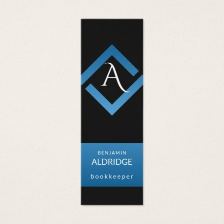 Cool Custom Color Blue and Black Monogram Bookkeeper Business Cards Template