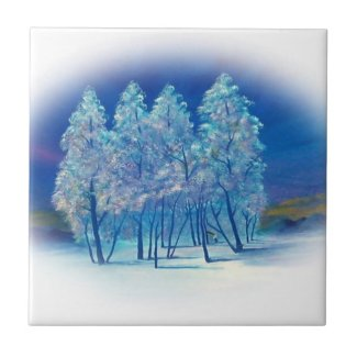 Winter Fir Trees Abstract Forest Artwork Tile