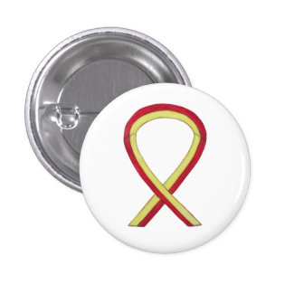 Red and Yellow Ribbon Awareness Button Pins