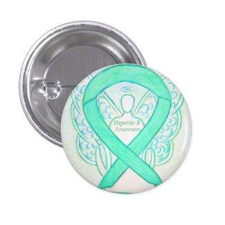 Hepatitis B Jade Awareness Ribbon Angel Pins