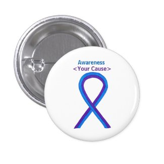 Purple and Blue Awareness Ribbon Custom Buttons