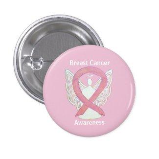 Breast Cancer Pink Awareness Ribbon Angel Art Pin