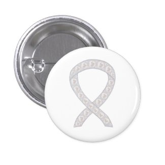Pearl Awareness Ribbon Custom Design Button Pins