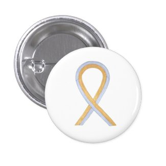 Gold and Silver Awareness Ribbon Custom Button Pin