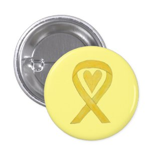 Yellow Heart Awareness Ribbon Custom Art Pins