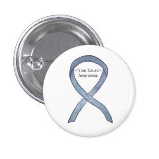 Gray Awareness Ribbon Custom Messages Button Pin