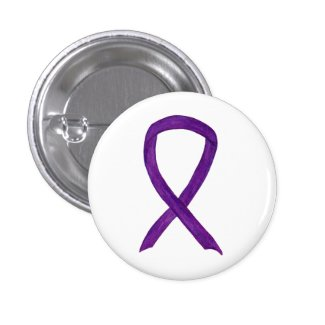 Purple Awareness Ribbon Art Custom Pendant Pin Buttons