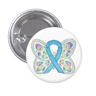 Blue Awareness Ribbon Butterfly Custom Art Buttons