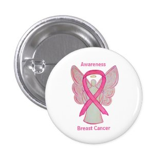 Breast Cancer Pink Awareness Ribbon Angel Pin