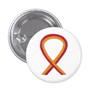 Orange and red Ribbon Awareness Button Pins