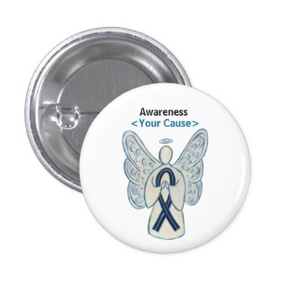 Black and BlueAwareness Ribbon Custom Angel Button