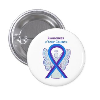 Blue and Purple Awareness Ribbon Angel Button