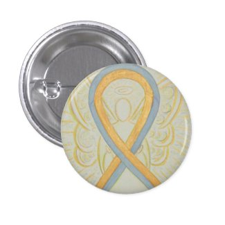 Gold and Gray Ribbon Awareness Angel Pins