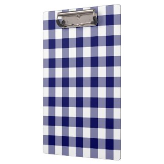 Navy and White Gingham Pattern Clipboard