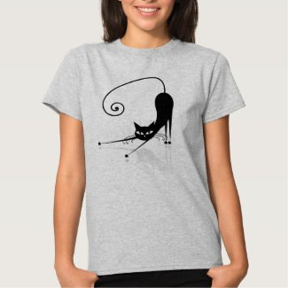 Black Stylized Cat T-Shirt