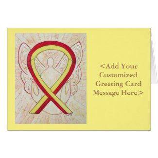 Red and Yellow Awareness Ribbon Personalized Card