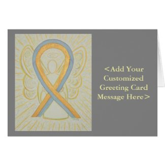 Gold & Gray Awareness Ribbon Angel Note Cards