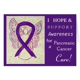 Pancreatic Cancer Awareness Ribbon Greeting Card