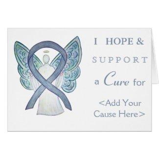 Gray Awareness Ribbon Angel Custom Greeting Card