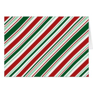 Christmas Candy Stripes: Red, Dark and Mint Green Card