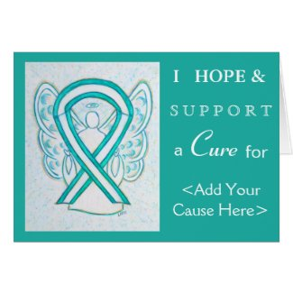 Cervical Cancer Awareness Ribbon Greeting Cards