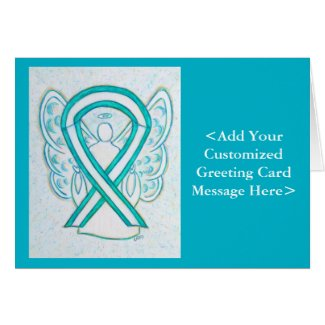 Cervical Cancer Awareness Ribbon Angel Cards
