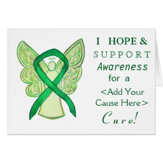 Green Awareness Ribbon Custom Cause Angel Cards