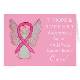 Pink Awareness Ribbon Custom Cause Angel Cards