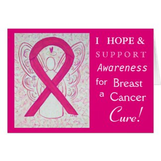 Breast Cancer Awareness Ribbon Angel Greeting Card