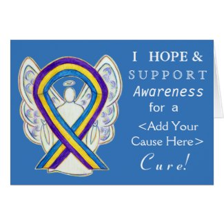 Bladder Cancer Awareness Ribbon Custom Angel Cards
