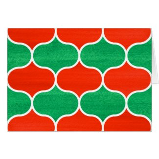 Red Green Ogee Pattern Christmas Holiday Card