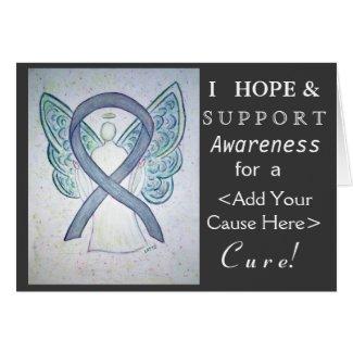 Gray Awareness Ribbon Custom Cause Angel Cards