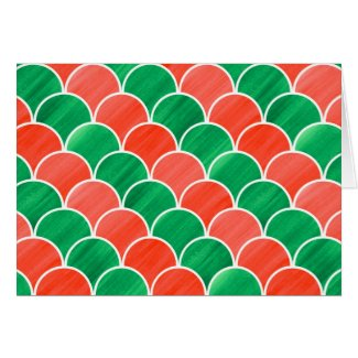 Painted Red and Green Scale Christmas Pattern Card