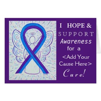 Blue and Purple Awareness Ribbon Angel Cause Cards